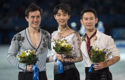 Patrick Chan, Yuzuru Hanyu, Denis Ten